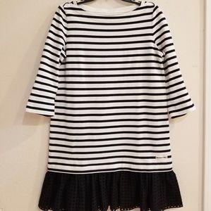 Kate Spade Black & White Stripe Eyelet Dress